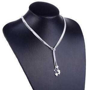 Damen-Schmuck-Herz-Halskette-Collier-5-Herzen-925-Silber-Geschenk-Valentinstag