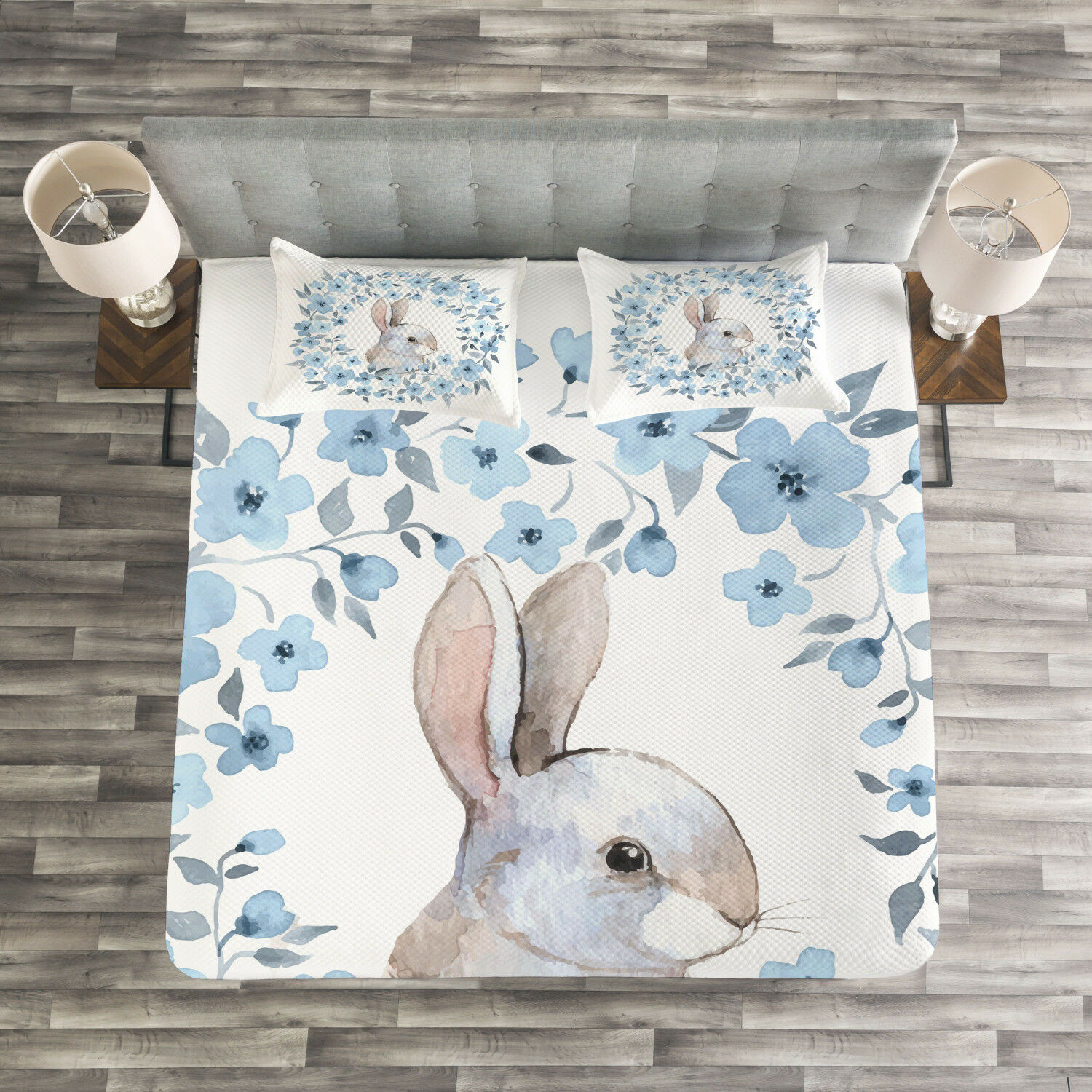 Country Quilted Bedspread & Pillow Shams Set, Rabbit Portrait Print