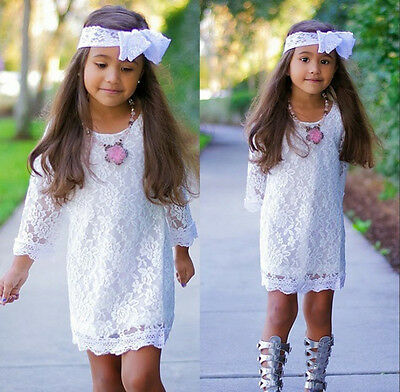 New Girls Holiday Clothes Baby Kids White Princess Flower Lace Dress Skirt 2-11Y