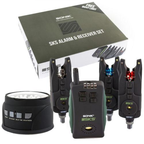 Sonik SKS Alarm 3 Rod Set and Receiver + FREE Bivvy Light Bite Alarm 3+1