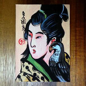 Japanese-art-original-painting-ACEO-hand-painted-OOAK-signed-japan-miniature