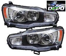 08-15 Mitsubishi Lancer Black Projector Head Light Evolution Evo X Halogen DEPO