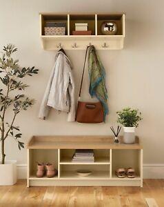 Coat Hook Wall Mounted Unit Cream 3 Shelves 4 Hooks Storage Bench Open Shelves