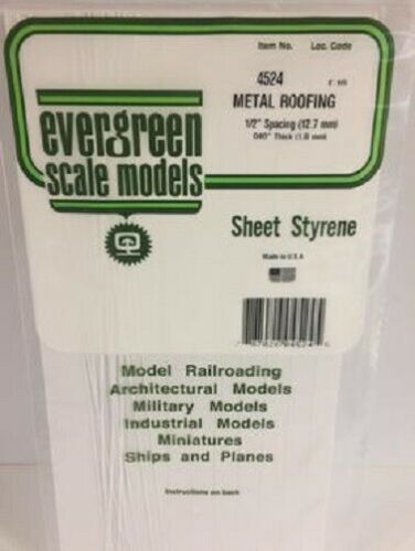 "Evergreen # 4524 Seam Roofing Sheet 6 x 12/""15.2 x 30.5cm 1//2/""1.3cm Spacing A MIB"