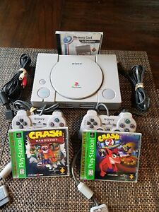 PS1 Sony Playstation 1 Console Bundle 2 Controllers Crash Bandicoot 1 & 2