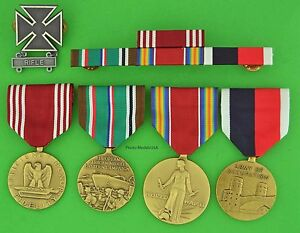 Army-WWII-European-Theater-Occupation-Medals-Ribbons-RIFLE-Badge-WW2-RLWS