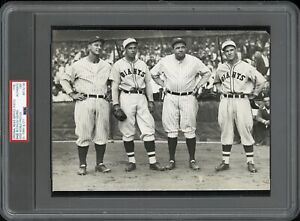 Babe-Ruth-amp-Lou-Gehrig-1930-Yanks-Giants-Mel-Ott-Type-1-Original-Photo-PSA-DNA
