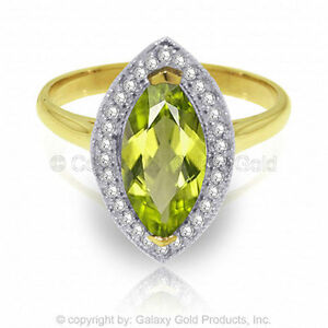 Genuine-Peridot-Gem-amp-Diamonds-Halo-Ring-14K-Yellow-White-or-Rose-Solid-Gold
