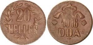 German East Africa 20 Heller 1916T J.727c Bronze Vf-Xf 44391