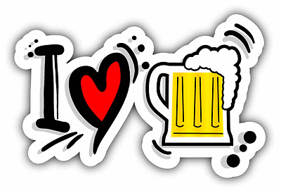"I Love Beer Slogan Car Bumper Sticker Decal 6"" x 3"""