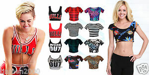 Womens-Ladies-Short-Sleeve-Printed-Crop-Top-Belly-T-Shirt-Size-S-M-M-L-8-14