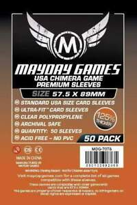 MAYDAY-GAMES-American-Chimera-Board-Game-Card-Sleeves-Clear-57-5-x-89mm-50ct