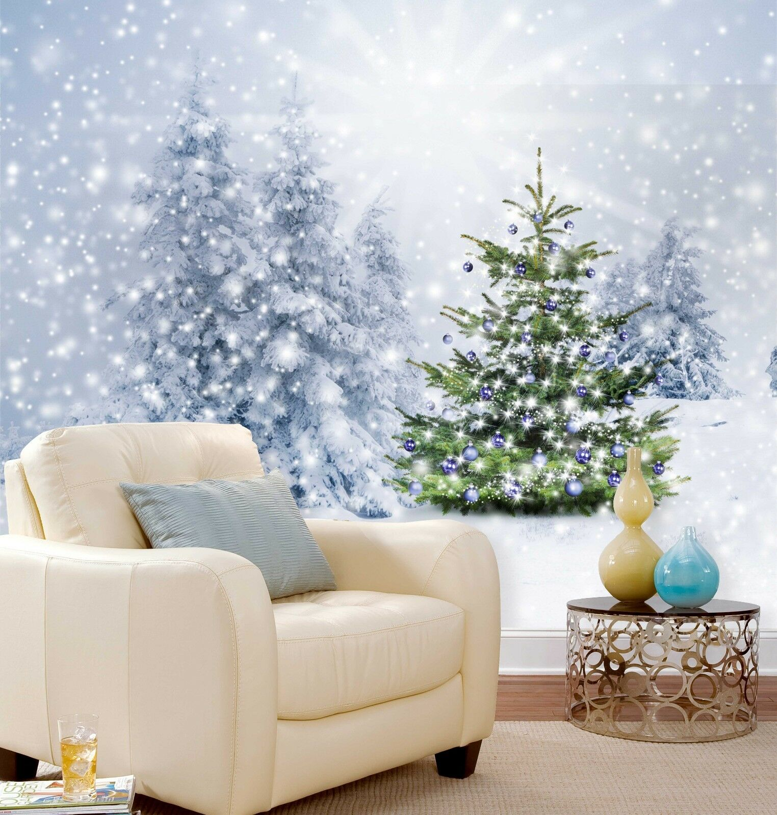 3D Snowing Pine 74 Wallpaper Murals Paper Wall Print Wallpaper Mural UK