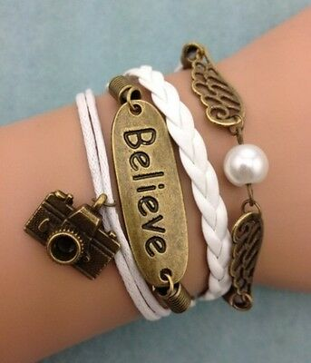 NEW Infinity Believe Camera Wing Pearl Leather Charm Bracelet plated Copper !!!!