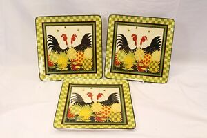 Certified-International-Oh-Happy-Day-Dan-Dipaolo-Dinner-Plates-Lot-of-3-Lot-C