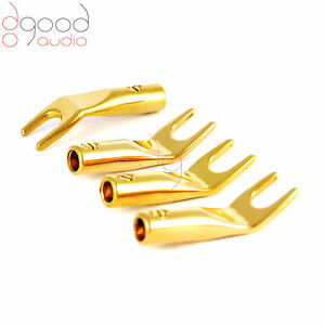 4-x-High-Quality-Gold-Plated-SPADE-Screw-Fix-Speaker-Terminals-Cable-Connectors