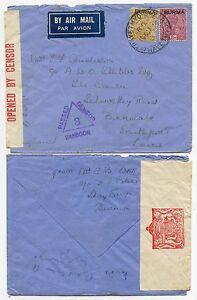 BURMA-INDIA-INTERIM-OVERPRINTS-WW2-CENSORED-AIRMAIL-1939-THAYETMYO-to-SOUTHPORT