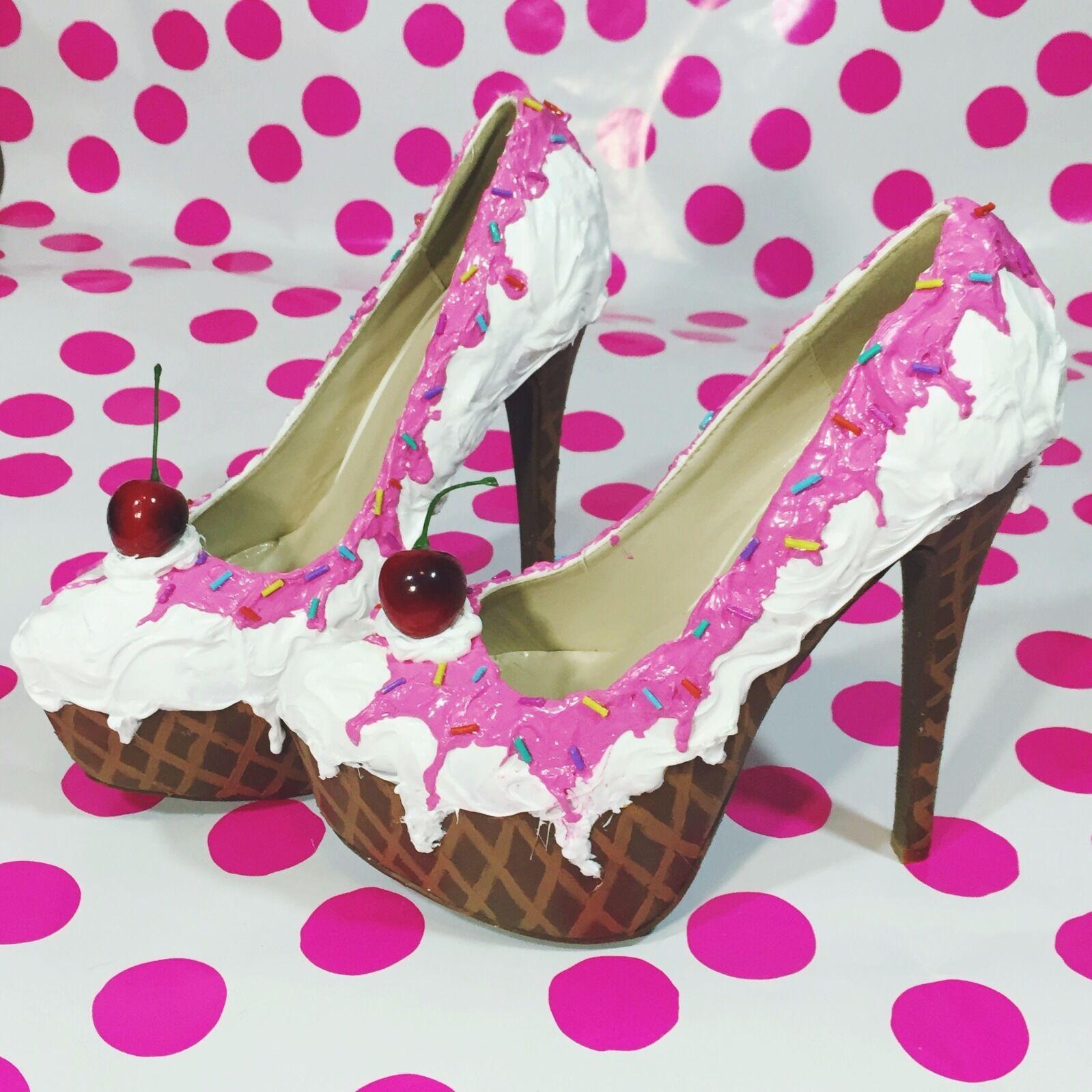 Adorable Pink & White 6 Ice Cream Stiletto Sundae Platform Fashion Party shoes