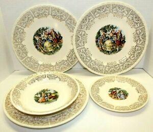 Vintage Crooksville China Co. Ornate Gold Trimmed Victorian Dinner Set Plates