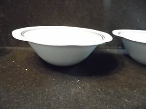4 Heavy Pyroceram Tableware Corning Scalloped Edge Soup Cereal Bowls Gold Bands & 4 Heavy Pyroceram Tableware Corning Scalloped Edge Soup Cereal Bowls ...