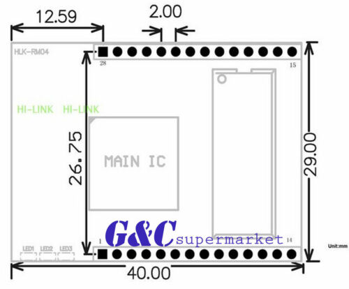 1PCS HLK-RM04 Embedded UART-ETH-WIFI Router Development Kit w//Antenna TOP M77