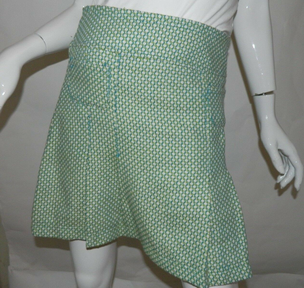 NWT Anthropologie Tulle Skirt Green and White Tweed  A-Line Skirt Size Medium