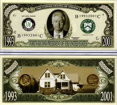 Bill Clinton 1993-2001 Million Dollar Novelty Money 42nd President