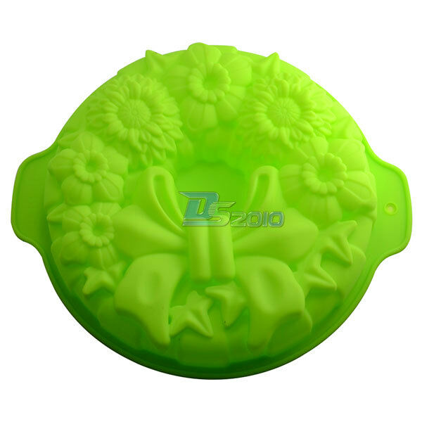 "7.2"" Garland Flan Birthday Party Cake Bread Pie Muffin Silicone Mould Baking Pan"