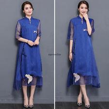 Elegant Women Summer Silk Qipao Party Cocktail Maxi Robe Tunic A Line Long Dress