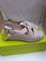 Hotter Aida Soft Beige Leather Sandals - Size Uk 7/eu41 Std Width Rrp £65