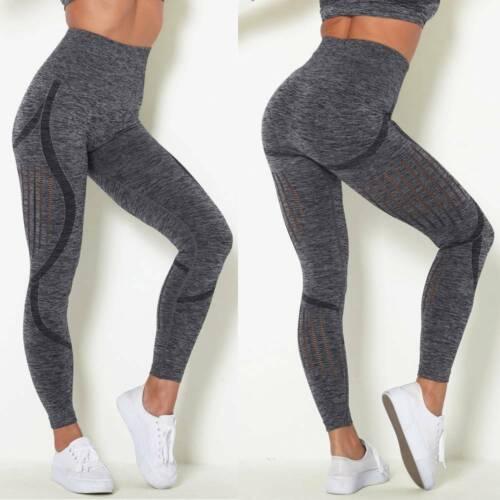 Womens Seamless Leggings High Waist Ruched Butt Lift Yoga Pants Sports Trousers
