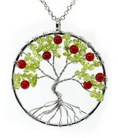 Gifts For Moms Birthday Pendant Handmade Necklace Jewelry Tree Of Life Gemstone
