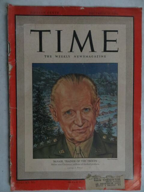 Time Magazine  December 28, 1942  McNair, Trainer Of The Troops  VINTAGE ADS