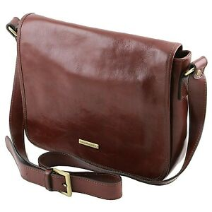 c8dfc1747b Image is loading Tuscany-Leather-TL-MESSENGER-One-compartment-Genuine- leather-
