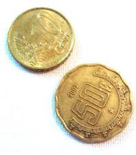 Lot Set of 2 Coins 2002-F Euro 10 cent & 2001-OM Estados Unidos Mexicanos 50c