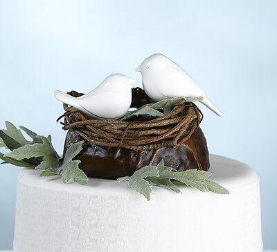 Pair of White Love Birds Cake Picks wedding cake decoration topper