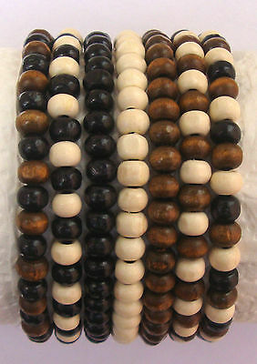 Set of 3 Mens Wooden Bead Tribal Black White Brown Surfer Elastic Bracelet