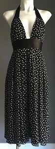 Gorgeous-RAZAK-Black-amp-White-Polka-Dot-Pin-Up-Retro-Style-Halter-Dress-Size-1-8