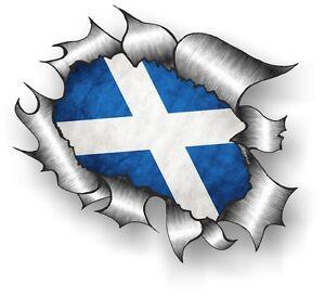 CLASSIC Ripped Open Torn Metal Rip & Scotland Scottish Saltire Flag car sticker