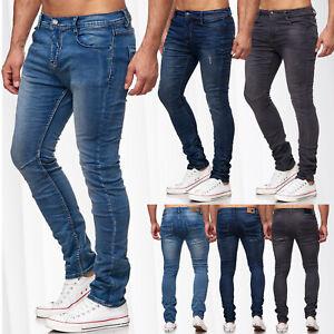 Neu-Herren-Sweat-Slim-Jeans-Hose-Denim-Vintage-Used-Stone-Washed-Ripped
