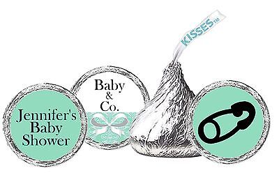 Tiffany Blue Baby Shower Hershey's kisses labels (108ct) stickers Baby Shower