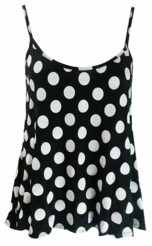New Womens Ladies Plain Swing Cami Vest Printed Sleeveless Top Strappy Plus Size