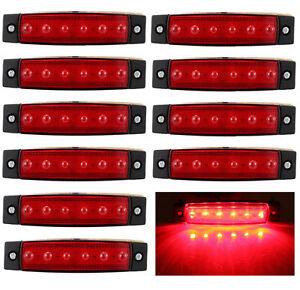 10x-6-LED-Red-Clearence-Truck-Bus-Trailer-Side-Marker-Indicators-Light-Lamp-12V