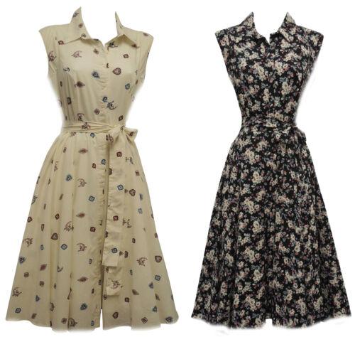 1940s Dresses   40s Dress, Swing Dress   New Retro Vtg 1940s 1950s Art Nouveau Ditsy Floral Shirt Tea Dress £29.99 AT vintagedancer.com