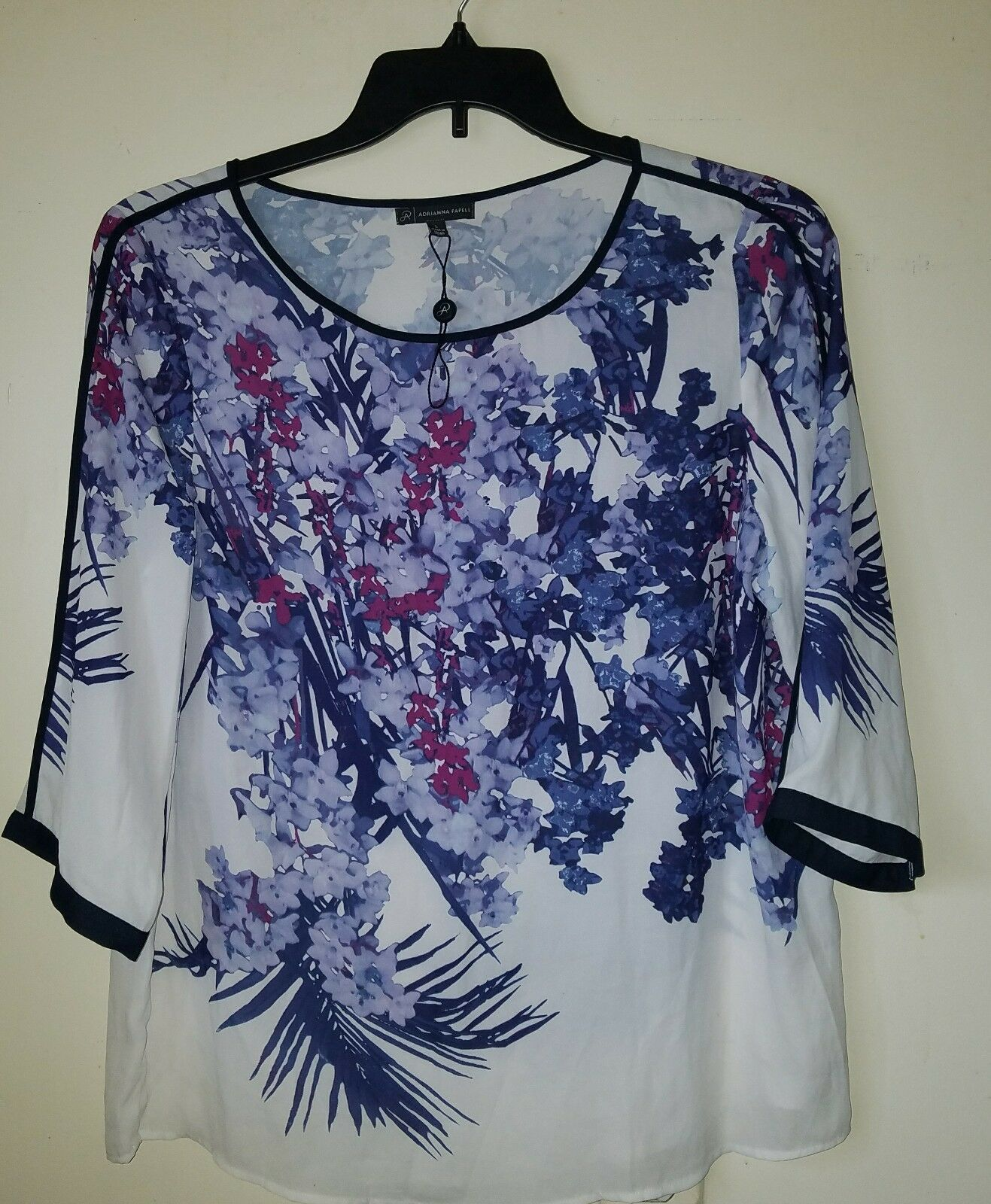 NWOT Adriana Papell damen' s Multi-Farbe Sheer Floral 3 4 Sleeve Blouse Sz L