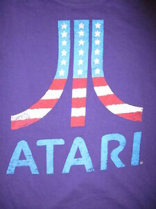 Image Is Loading ATARI T SHIRT Purple USA American Flag Logo