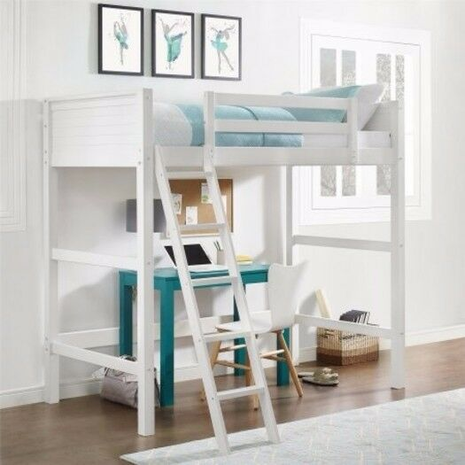 Twin Bunk Loft Bed, Desk with Ladder Kids Teen Bedroom White Wood Furniture