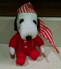 """Whitman's SNOOPY Red Pajamas Cap 6"""" Plush Stuffed Animal Toy Peanuts"""