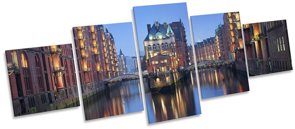 HAMBURG HAMBURG HAMBURG CANAL Cityscape art. a muro foto CINQUE PANNELLO 4c7bdc