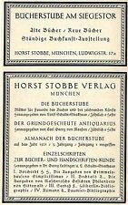 Horst Stobbe München VERLAG und BÜCHERSTUBE Historische Reklame von 1921